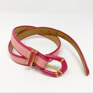 Carlisle vtg pink stripe leather dress belt P